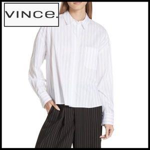 Vince Crisp Cotton Subtle Stripe Blouse. Classic.